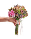 Bouquet for bride in hand isolated on white background. Stock Photo