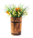 Bouquet of calla lily and grass in wood bucket isolated on white Royalty Free Stock Photography