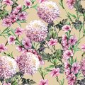 Bouquet Chrysanthemum with Peach Flowers of Watercolor. Floral Seamless Pattern on a Ginger Root Background.