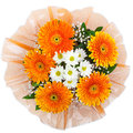 Bouquet of chrysanthemums and gerberas white orange isolated on white background Stock Photo