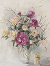 Bouquet of color peonies with candle watercolor