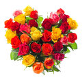 Bouquet of colorful assorted roses in heart shape Royalty Free Stock Photo