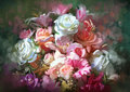 Bouquet of colorful flowers,illustration Royalty Free Stock Photo
