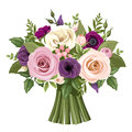 Bouquet of colorful roses and lisianthus flowers. Vector illustration. Royalty Free Stock Photo