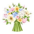Bouquet of colorful roses, lisianthus and lilac flowers. Vector illustration.