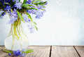 Bouquet copy space blue spring flowers scylla a in a vase Royalty Free Stock Photos