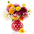 Bouquet dahlias in red vase isolated over white background Stock Photo