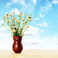 Bouquet of daisies in the jug against blue sky Royalty Free Stock Photography