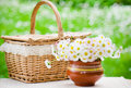 A bouquet of daisies in pot on the table for a picnic Royalty Free Stock Images