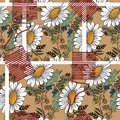 Decorative white big chamomile with different meadow flowers on beige background. Floral seamless pattern.