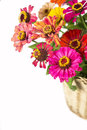 Bouquet from different brights in a basket Royalty Free Stock Photo