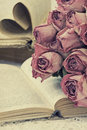 Bouquet dried roses old book vintage style Royalty Free Stock Images