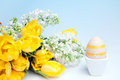 Bouquet and easter egg Stock Image