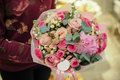 Bouquet of eustoma and other pink flowers Royalty Free Stock Photo