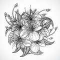 Bouquet of exotic flowers.Black and white tropical flowers and leaves. elements. Vintage hand drawn vector illustration