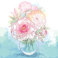 Bouquet with five ornate peony flower and leaves in the round transparent vase on the textured background with blots.l Royalty Free Stock Photo