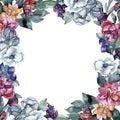 Bouquet floral flower. Watercolor background illustration set. Watercolour drawing. Frame border ornament square.