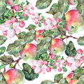 Bouquet flowers apple with apples seamless pattern