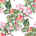 Bouquet flowers apple and fruit seamless pattern