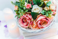 Bouquet of flowers in a basket, Wedding decoration, hand made Royalty Free Stock Photo