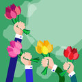 Bouquet Flowers Business Hands Group Copy Space Royalty Free Stock Photo