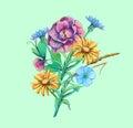 Bouquet of flowers camomile, cichorium, forget-me-