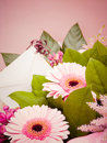 Bouquet flowers with card pink blank Royalty Free Stock Photo