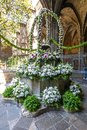 Bouquet of flowers in courtyard of Cathedral of the Holy Cross and Saint Eulalia in Gothic quarter, Barcelona, Spain