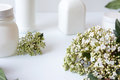 Bouquet of flowers on desk white background Royalty Free Stock Photo