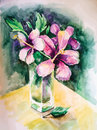 Bouquet of flowers in a glass vase aquarelle picture Stock Photo