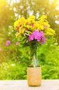 Bouquet of flowers of goldenrod, phlox and lilies in a glass bottle on natural background in the golden rays of the sun Royalty Free Stock Photo