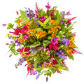 Bouquet of flowers top view isolated on white Royalty Free Stock Photo