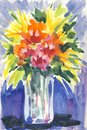 A bouquet of flowers in vase painted with watercolors in an abstract expressive style one my original paintings Royalty Free Stock Image