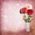Bouquet of flowers on vintage background with a place for text or photo Royalty Free Stock Photos