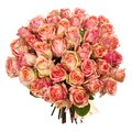 Wedding bouquet of pink roses, blue, red, yellow flowers and hands of bride and groom