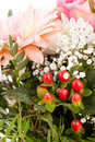 Bouquet of fresh pink and white flowers with a gerbera daisy dahlia roses in a close up view as a background for celebrating Royalty Free Stock Image