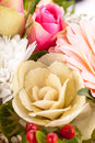 Bouquet of fresh pink and white flowers with a gerbera daisy dahlia roses in a close up view as a background for celebrating Royalty Free Stock Photo