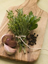 Bouquet Garni Garlic Cloves and Peppercorns Stock Image