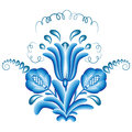 Bouquet gzhel blue floral pattern in style isolated on white vector illustration Royalty Free Stock Images