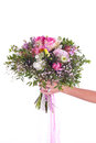 Bouquet in hand betrothal of the woman isolated Stock Photos