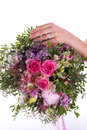 Bouquet hand and ring betrothal Royalty Free Stock Image