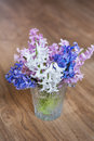 Bouquet of hyacinths flowers in a glass vase.Spring flowers Royalty Free Stock Photo