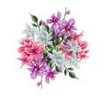 Bouquet illustration of orchid rhododendron a flower consist vanda miss joaquim poets jasmine and flower all painted digitaly Royalty Free Stock Photos