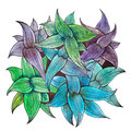 Bouquet of leaves painted with related pastel green, blue and purple colors. Top view of wild plant hand-drawn with