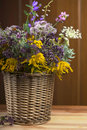Bouquet of medicinal herbs in basket on a wooden background Royalty Free Stock Photography