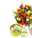 Bouquet of multicolored tulips easter eggs fresh with and gift box on white background festive decoration holidays background Royalty Free Stock Image