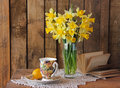 Bouquet of narcissuses still life with a Royalty Free Stock Photo