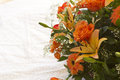 Bouquet orange flowers white background Royalty Free Stock Photo