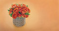 Bouquet of orange roses with copy space on textured background Stock Photo
