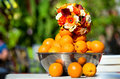 Bouquet and oranges Stock Images